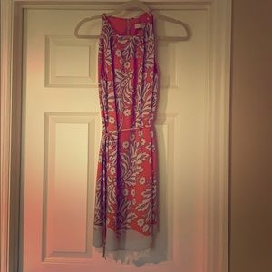 Loft orange patterned dress
